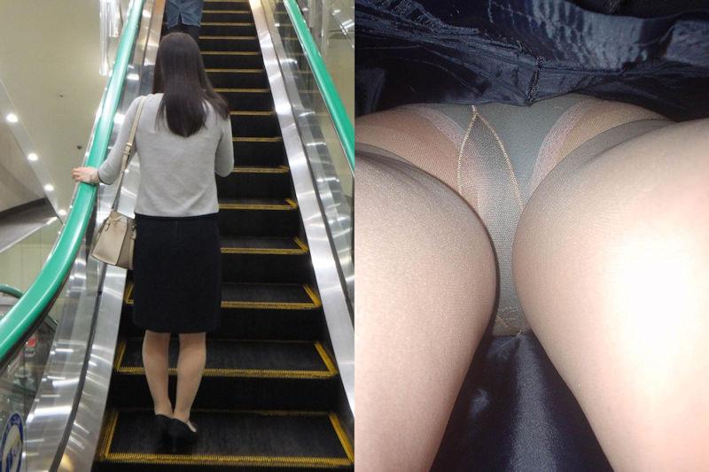 OLタイトスカートの逆さ撮りパンチラ