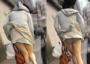強風でスカートがめくれあがるパンチラ